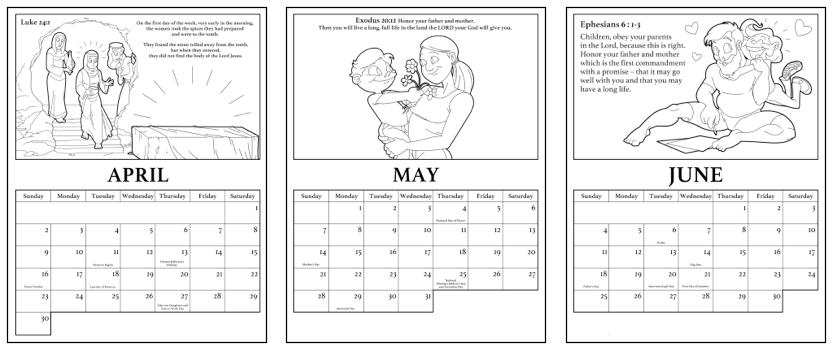 Printable 2017 christian calendar teach sunday school for Sunday school calendar template